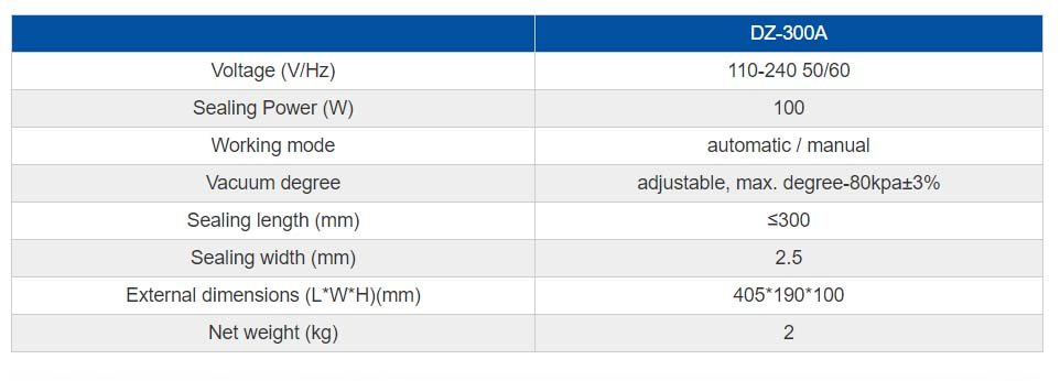 Household Vacuum Sealer- parameters